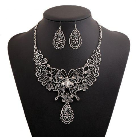 Discount Women Girls Vintage Hollow Butterfly Pendant Necklace Choker Collar Drop Earrings Set Metal Fashion Jewelry Gifts