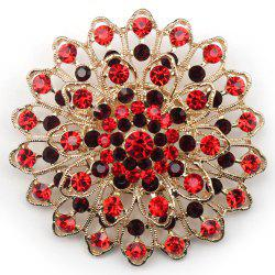Women Girls Crystal Ornament Rhinestone Flower Pendant Brooch Fine Jewelry Gifts -