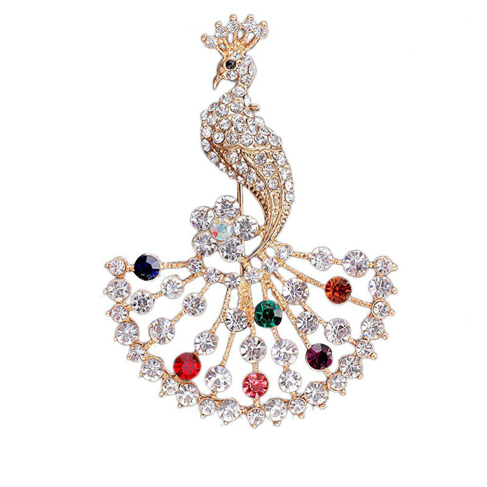 Online Women Girls Colorful Crystal Rhinestone Peacock Pendant Brooch Fine Jewelry Gifts Ornament