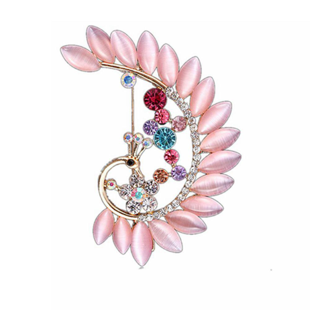 Trendy Women Girls Crystal Rhinestone Peacock Pendant Brooch Fine Jewelry Gifts Ornament