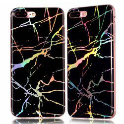 Fashion Color Plated Marble Phone Case For iPhone 7 Plus Case Cover Luxurious Soft TPU Full 360 Protection Phone Bag -