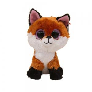 6-Inch Slick Brown Fox Plush Baby Stuffed Doll Collectible Soft  Big Eyes Toy -