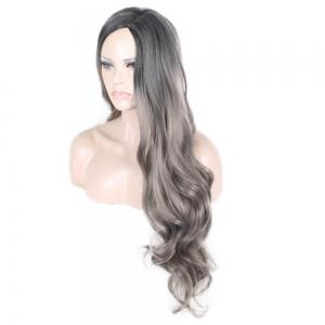 Женская мода Pretty Black Gradient Grey Long Curly Wig -