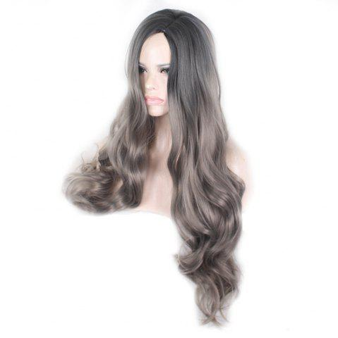 Женская мода Pretty Black Gradient Grey Long Curly Wig