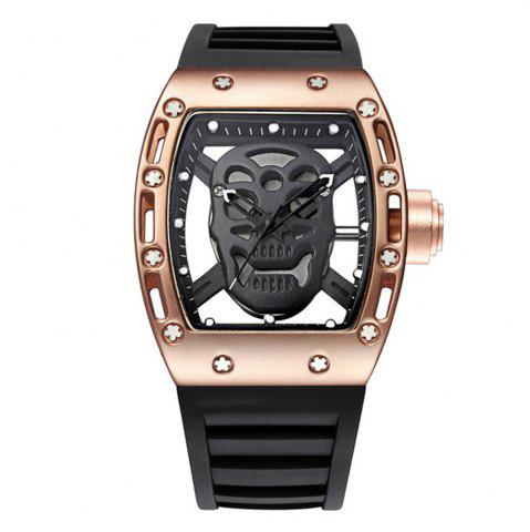 Discount Punk Skull Style Fashion Men  Silicone Hollow Quartz Skull Steampunk Luxury Sports Casual Watche
