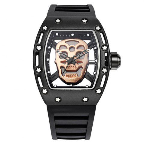 Sale Punk Skull Style Fashion Men  Silicone Hollow Quartz Skull Steampunk Luxury Sports Casual Watche