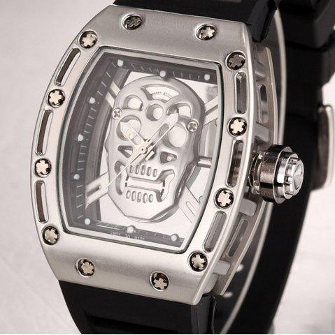 New Punk Skull Style Fashion Men  Silicone Hollow Quartz Skull Steampunk Luxury Sports Casual Watche