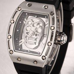 Punk Skull Style Fashion Men  Silicone Hollow Quartz Skull Steampunk Luxury Sports Casual Watche -