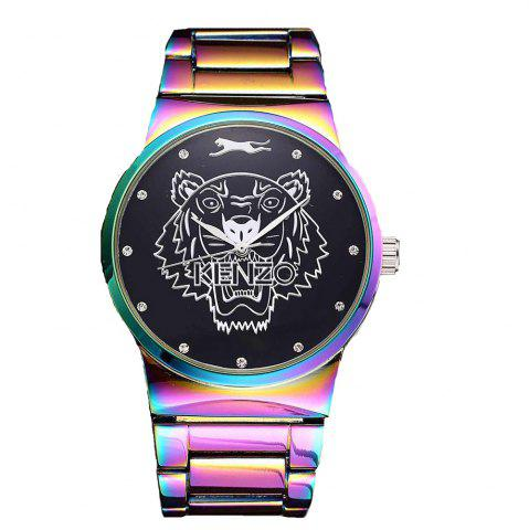 Trendy Men Quartz  Colorful Band Personality Stainless Steel Watch