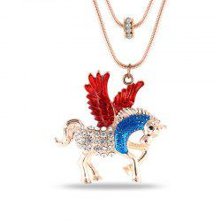 Fashion Jewelry Cartoon Romantic Film Themes Fairy Tales Style Pegasus Horse Animal Crystal Pendant Chokers Necklaces -