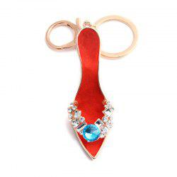 Fashion Jewelry Brand Office Lady High Heeled Shoes Style Keychains Crystal Rhinestal Oil Drop Key Chains -