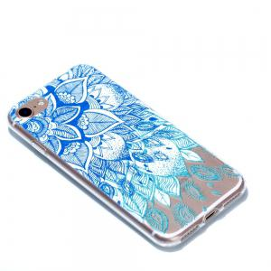 for Iphone 7 Blue Leaves Painted Soft Clear TPU Phone Casing Mobile Smartphone Cover Shell Case -