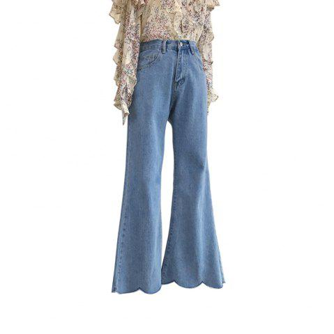 Store High Waist  Waves Lap Wide-Legged Horn Jeans Trousers