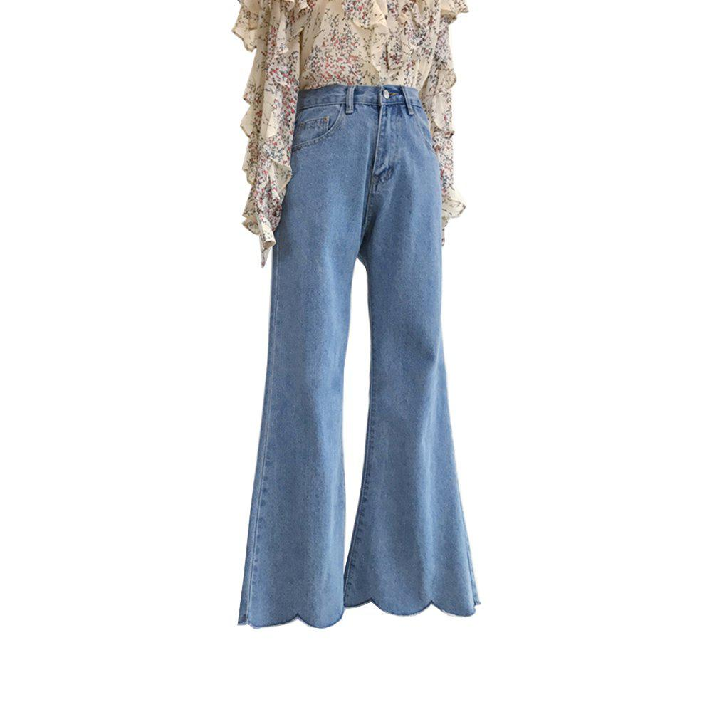 Fancy High Waist  Waves Lap Wide-Legged Horn Jeans Trousers