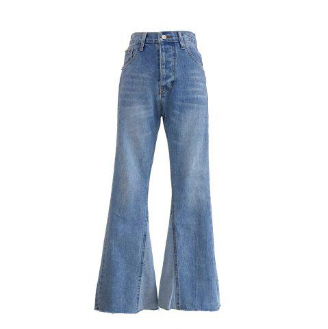 Unique Temperament Long High Waist Wide-Legged Horn Jeans Trousers