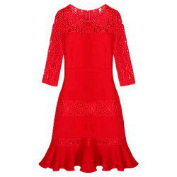 Half Sleeve Large Size Lacy Dress -