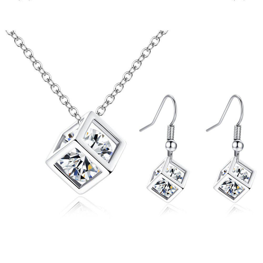 Chic Diamond Square Cube Love Pendant Necklace Earrings 2 Pieces