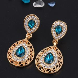 2PCS Necklace Crystal Earrings Water Drop Pendant Jewelry -