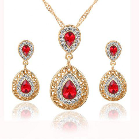Hot 2PCS Necklace Crystal Earrings Water Drop Pendant Jewelry