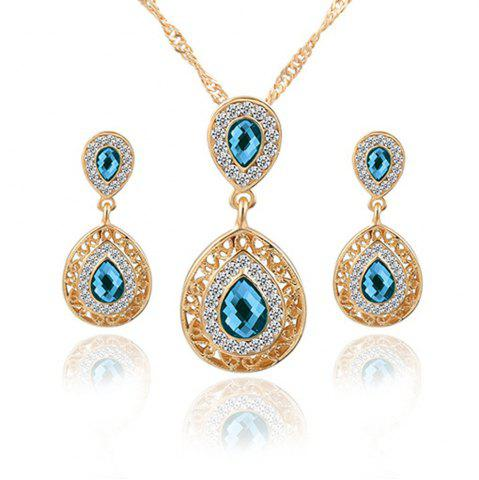 Trendy 2PCS Necklace Crystal Earrings Water Drop Pendant Jewelry