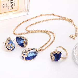 3PCS Crystal Pendant Necklace Earrings Ring Jewelry -