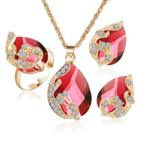 Discount 3PCS Crystal Pendant Necklace Earrings Ring Jewelry