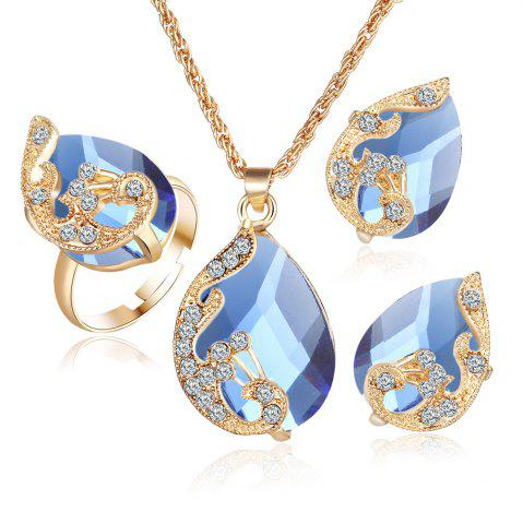 Affordable 3PCS Crystal Pendant Necklace Earrings Ring Jewelry