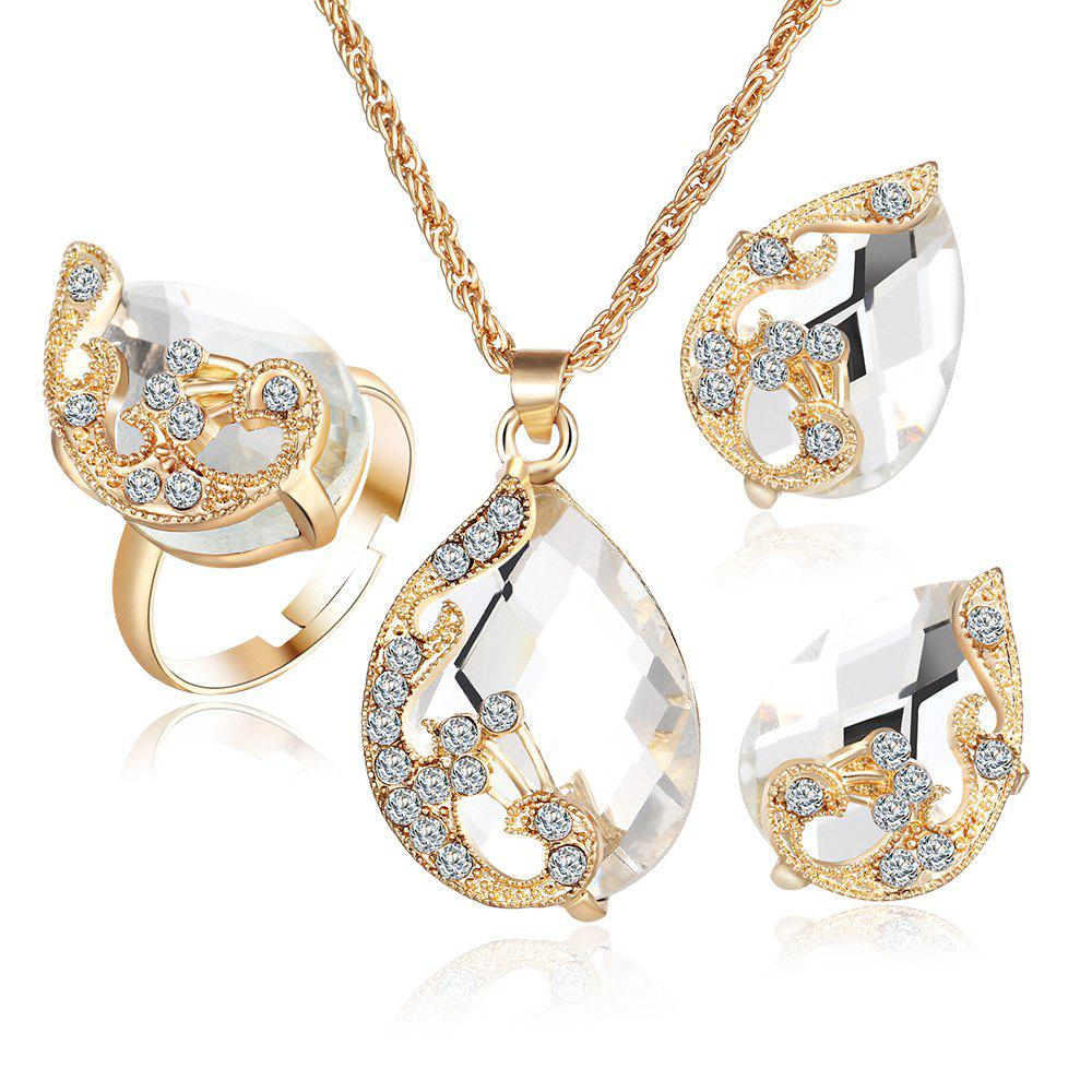 Online 3PCS Crystal Pendant Necklace Earrings Ring Jewelry