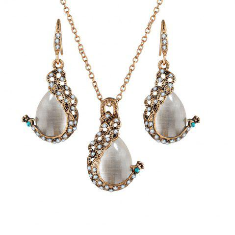Latest 2PCS Peacock Cat'S Eye Crystal Earrings Necklace Set
