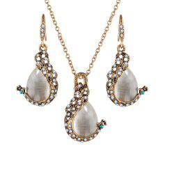2PCS Peacock Cat'S Eye Crystal Earrings Necklace Set -