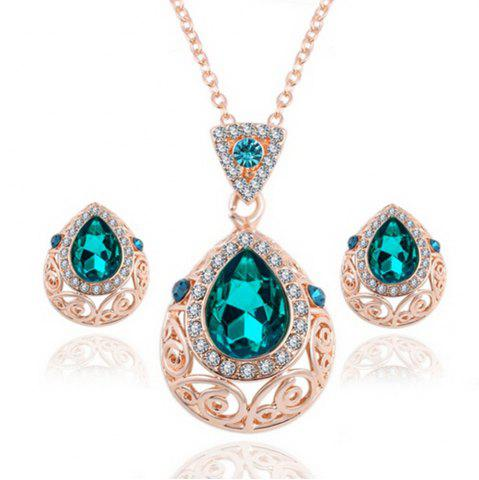 Fancy 2PCS Crystal Diamond Earrings Drop Hollow Pendant Necklace Jewelry Set