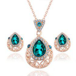 2PCS Crystal Diamond Earrings Drop Hollow Pendant Necklace Jewelry Set -
