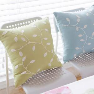 Sofa Cushion Case Fresh Color Embroidery Leaves Pattern Decorative Pillowcase -