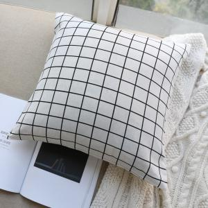 Pillow Cover Nordic Breif Style Striped Plaids Cushion Cover Pillowcase -