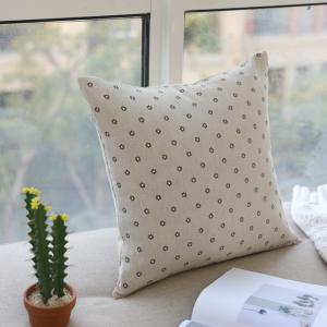 Sofa Decorative Pillow Pastoral Style Flowers Pattern Square Soft Cushion -