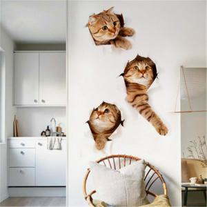 ... Cat 3D Wall Sticker Hole View Bathroom Toilet Living Room Home Decor  Decal Poster Background Wall