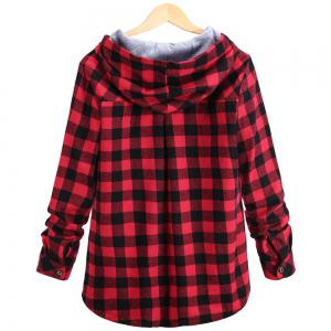 Plaid Hooded Cardigan Shirt -