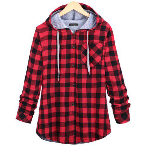 Affordable Plaid Hooded Cardigan Shirt