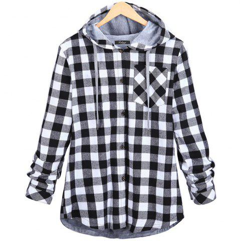 Fancy Plaid Hooded Cardigan Shirt