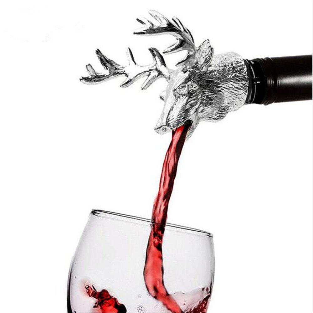 Shops Stainless Steel Deer Stag Head Wine Pourer Unique Wine Bottle Stoppers Wine Aerators Bar Tools