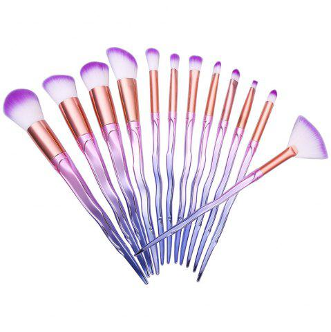 Affordable Ombre Color Spiral Screw Wavy Make-up Brushes 12PCS