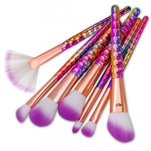 Honeycomb Bright Purple Hair Makeup Brush 7PCS -
