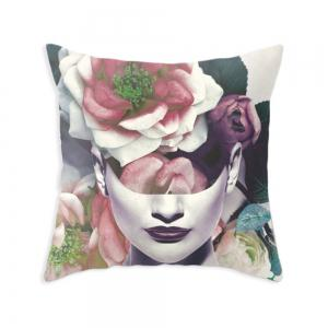 Double Sided Printed Roses Woman Pillowcase Sofa Decorative Cushion Cover -