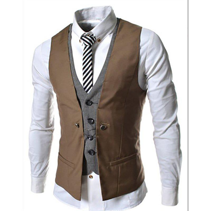 Cheap Men's New Lattice Fight Slim Casual Vest Jacket