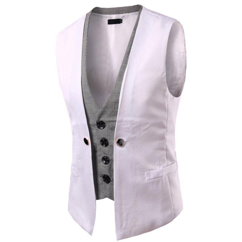 New Men's New Lattice Fight Slim Casual Vest Jacket