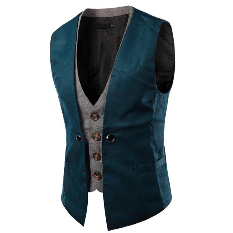 Affordable Men's New Lattice Fight Slim Casual Vest Jacket