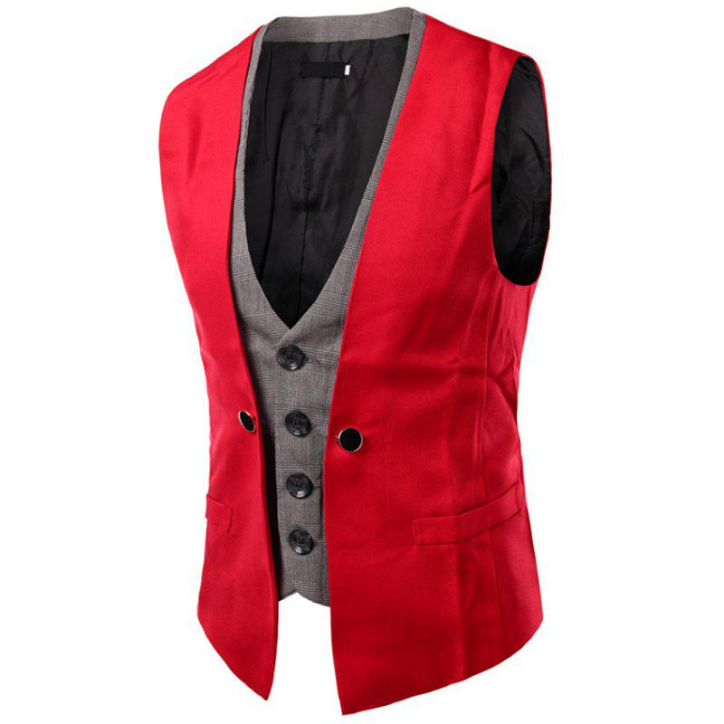 Store Men's New Lattice Fight Slim Casual Vest Jacket