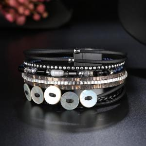 GS073 Women Weaving Shell Round Magnetic Clasp Bracelet -