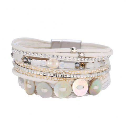 Shops GS073 Women Weaving Shell Round Magnetic Clasp Bracelet