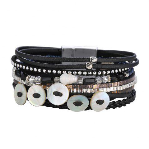 Online GS073 Women Weaving Shell Round Magnetic Clasp Bracelet
